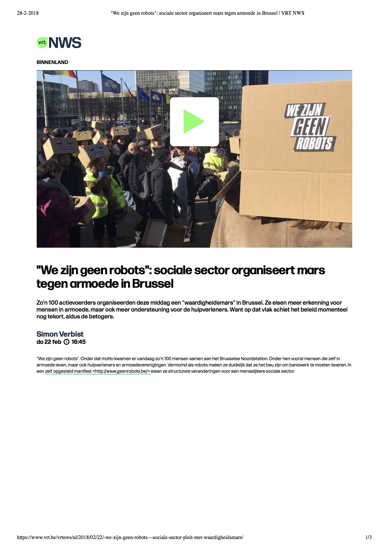 We zijn geen robots- sociale sector o...ars tegen armoede in Brussel | VRT NWS