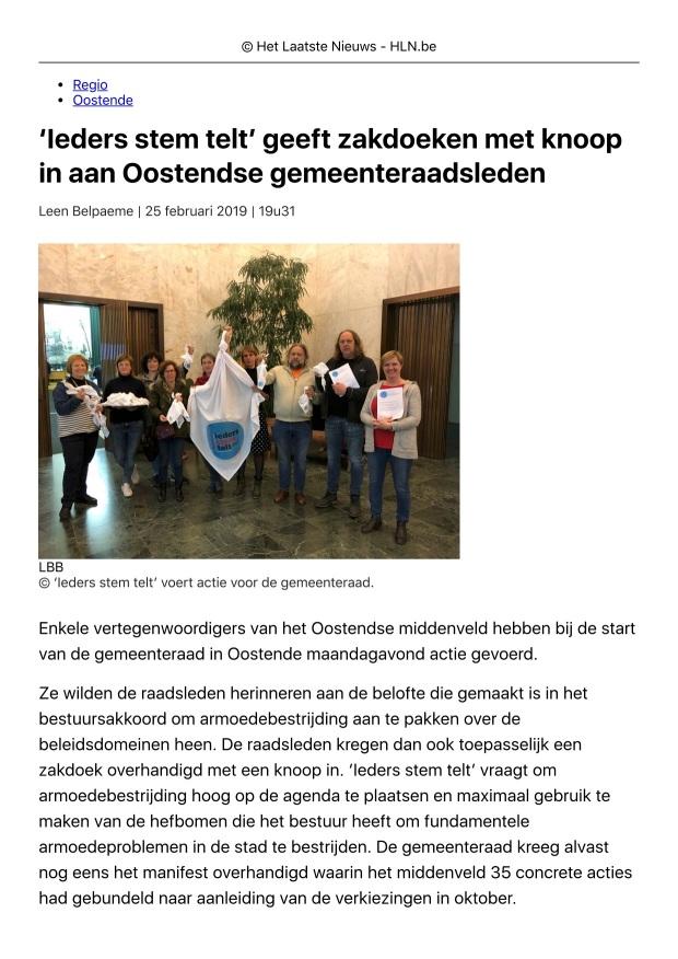 'Ieders stem telt' geeft zakdoeken met ...nteraadsleden | Oostende | Regio | HLN